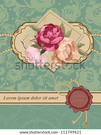Pink rose Vintage vector background. Beautiful abstract floral Retro decor illustration.