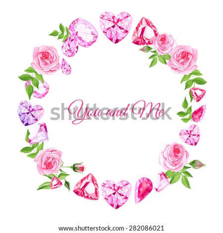 pink roses and diamonds vintage