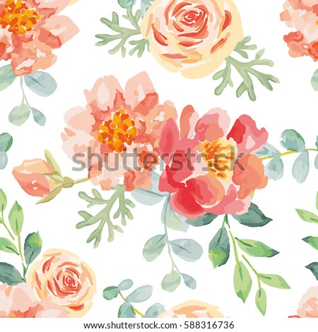 pink roses and peonies with