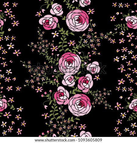 Pink roses and small flowers on a black background seamless pattern