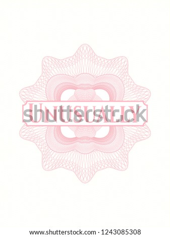 Pink rosette or money style emblem with text Unusually inside