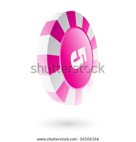 Pink roulette chip isolated on white - stock vector