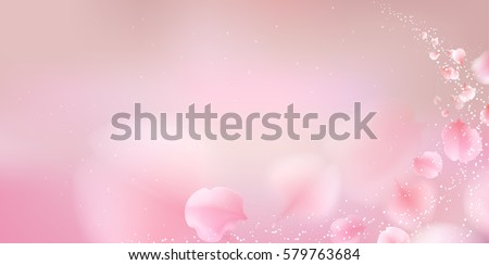 Shutterstock Pink sakura falling petals vector background. 3D romantic illustration. creative soft color design for greeting card, flyer, invitation, poster, brochure, banner template with copy space