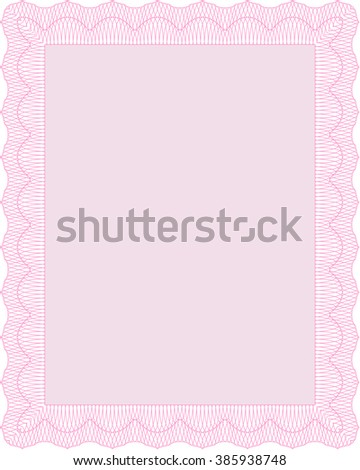 Pink Sample Certificate. Frame certificate template Vector. With linear background. Modern design.