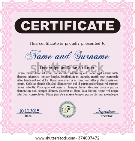 Pink Sample Certificate. Modern design. Frame certificate template Vector. With linear background.