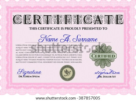 Pink Sample certificate or diploma. Elegant design. Vector certificate template. With complex linear background.