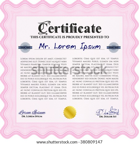Pink Sample certificate or diploma. With complex linear background. Elegant design. Vector certificate template.