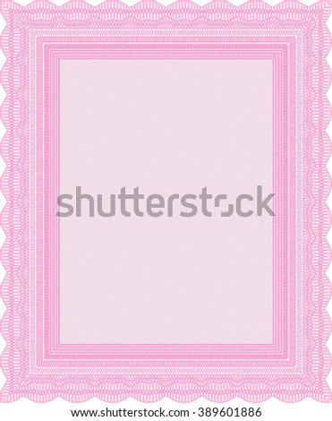 Pink Sample Diploma. With linear background. Frame certificate template Vector. Modern design.