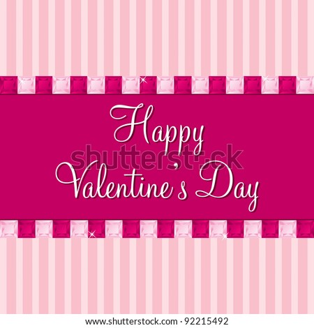 Pink sapphire bling Valentine's day cards in vector format.