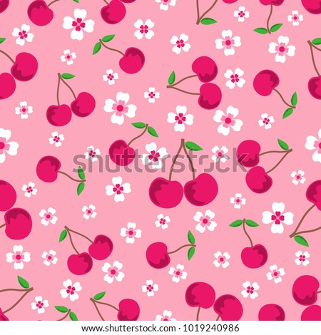 pink seamless background with cherries and flowers, seamless sweet vector cherry pattern, can be used like wallpaper, greeting card design, restaurant menu cover, textile print