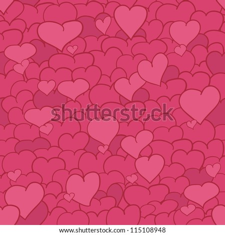 Pink seamless pattern with a lot of drawn hearts