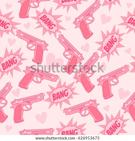 pink seamless pattern with gun