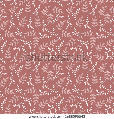 Pink seamless pattern with mini branches for textile desing ストックフォト ©