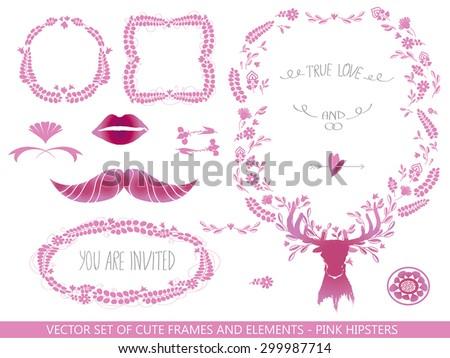 pink set of floral frames and