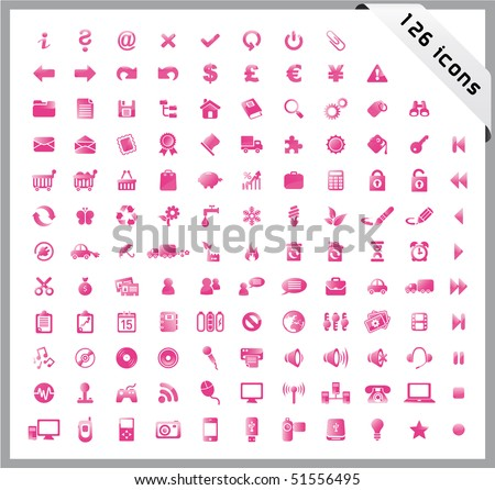 Pink set of 126 shiny icons - stock vector