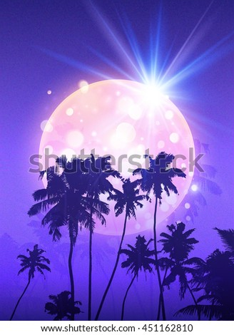 pink shining moon with black