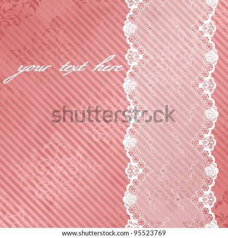 Pink shiny background with off-white lace (eps10); jpg version also available