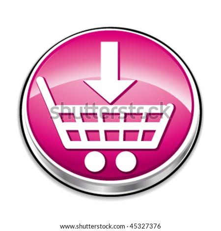 Pink shopping cart button. Vector illustration.