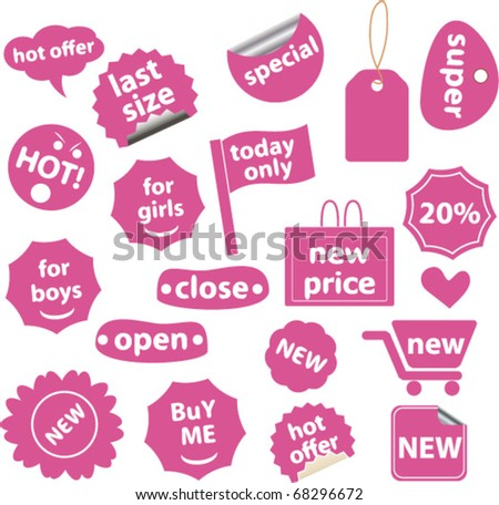 pink shopping stickers. vector
