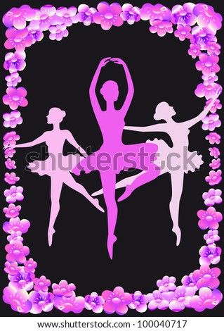 Pink silhouettes of dancers and apple flowers on a black background.