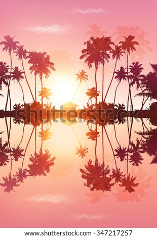 pink sky vector palms