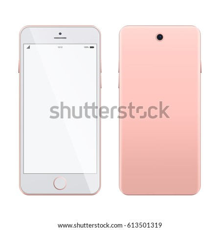 Pink smartphone mockup on white background. Realistic smartphone isolated on white background. Mobile phone mockup with blank screen on white background