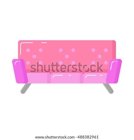 pink sofa icon on white
