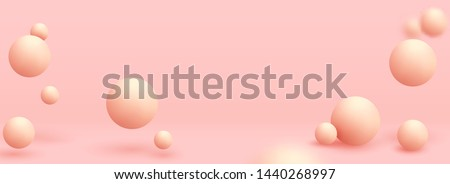 Pink spheres of balls on coral background. Realistic 3d shapes. Horizontal banner, poster, header pattern for the website. vector illustration