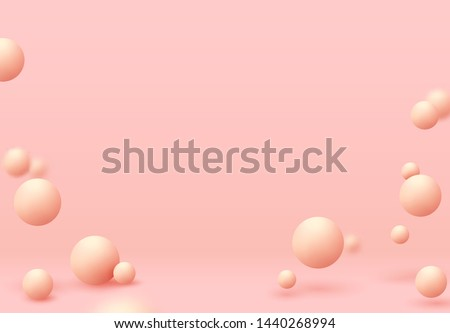 Pink spheres of balls on coral background. Realistic 3d shapes. vector illustration