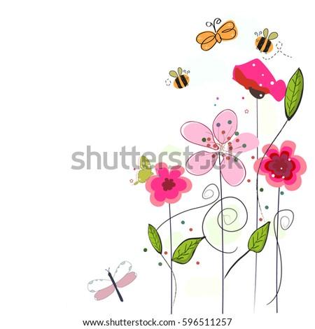 pink spring flowers  bee