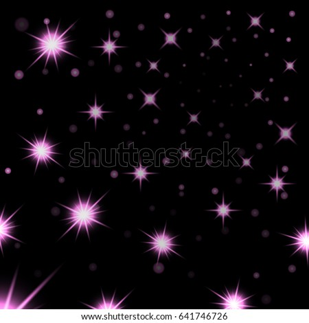 pink stars black night sky