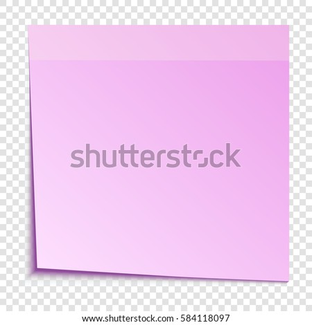Pink sticky note isolated on transparent background, vector illustration