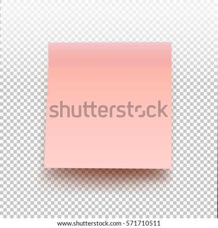 Pink sticky note isolated on transparent background. Vector illustration note for your design.