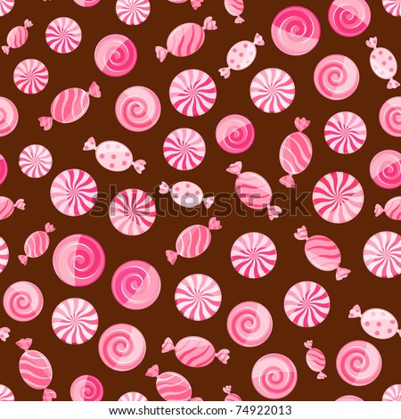 pink striped candy seamless pattern on chocolate brown background