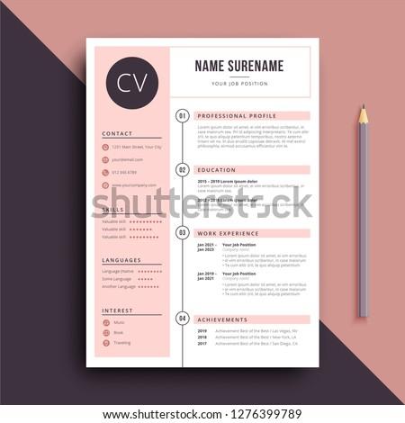 pink stylish and feminine resume CV template
