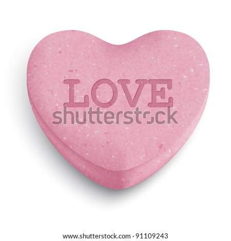 pink sugar heart candy with