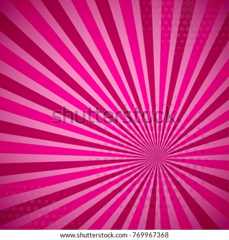 Pink summer colored Pop-Art style blue comics book background, Lichtenstein popart. Pop art comic strip backdrop sunlight, sun ray space. Funny halftone dotted template. Vector illustration.