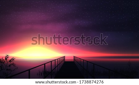 pink sunset on the lake with a