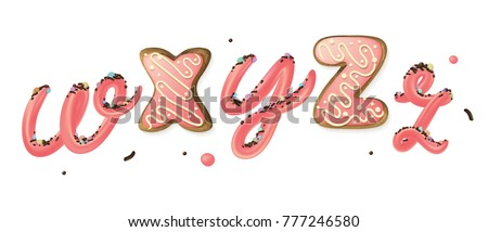 Pink sweet cream and donut 3d letters w, X, y, Z, z isolated on white background. Dessert lettering.