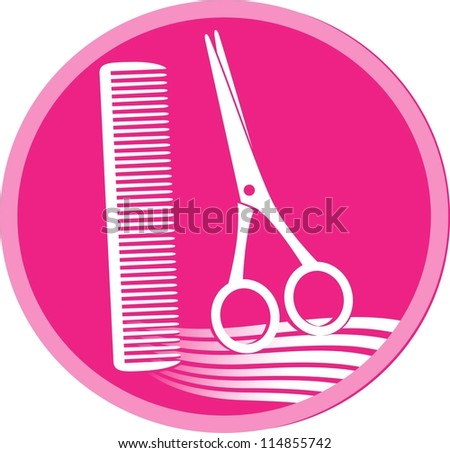 pink symbol of hair salon with scissors, hair and comb