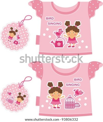 pink T-shirt for a young child. Front depicts a girl with a bird