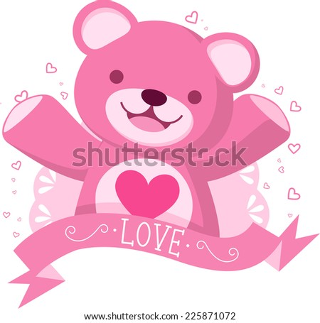 Pink Teddy bear with love banner vector illustration