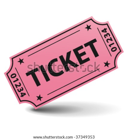 Pink ticket with shadow. Vector illustration.