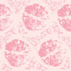 Pink tie dye dots background. Seamless hand drawn pattern tie dye shibori print. Ink textured background, japan rustic batik fabric. Vector illustration for fabric, wallpaper, scrapbooking projects