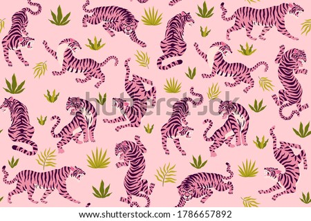 Pink tigers and tropical leaves. Vector seamless pattern with cute tigers on background. Fashionable fabric design. Foto stock ©