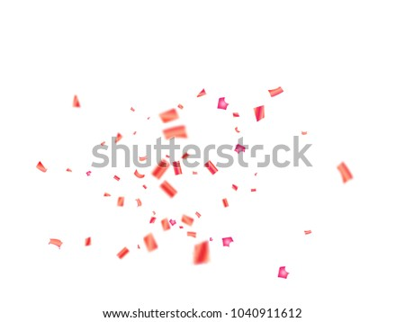 pink tinsel confetti falling vector christmas new year birthday party celebration firework decor