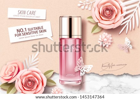 Pink toner ads on marble stone and kraft paper background with paper flowers, 3d illustration