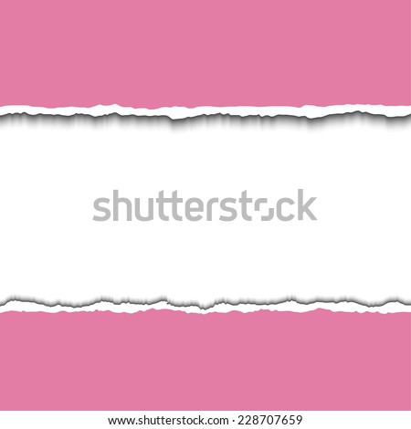 Pink torn paper strips with space for your test. Vector EPS10 illustration. Design elements - colored paper with ripped edges