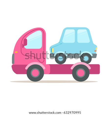 Pink tow truck, service of evacuation colorful cartoon vector Illustration