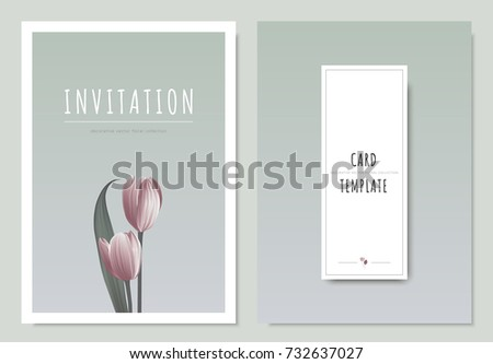 Pink tulip flower with leaf, minimal invitation card template design